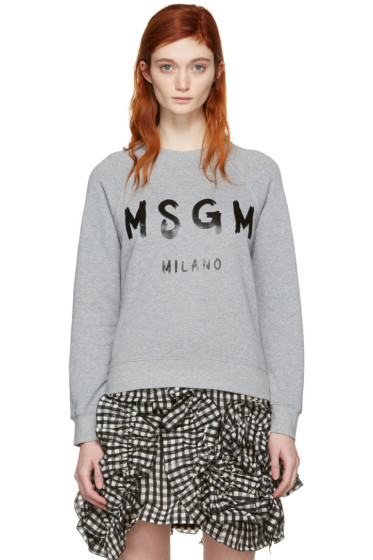 MSGM - Grey Drawn Logo Pullover