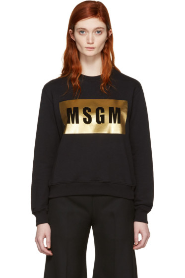 MSGM - Black Metallic Block Logo Pullover