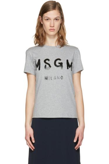 MSGM - Grey Drawn Logo T-Shirt