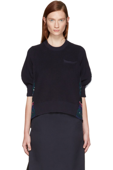 Sacai - Navy Tribal Lace Pullover