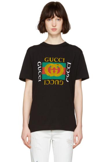 Gucci - Black Logo & Tiger Patch T-Shirt