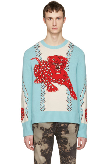 Gucci - Blue Serenity Leopard Sweater