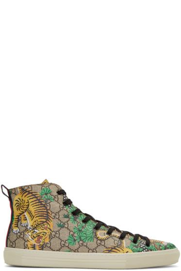 Gucci - Tan Major Tiger High-Top Sneakers