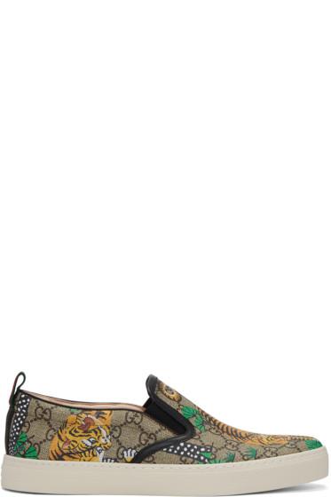 Gucci - Brown Bengal Dublin Slip-On Sneakers