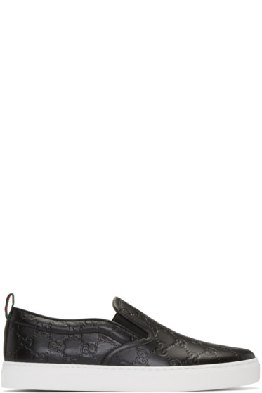 Gucci - Black Logo Dublin Slip-On Sneakers