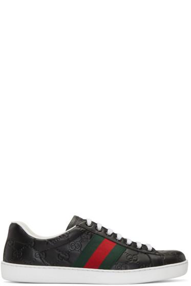 Gucci - Black Logo Stripe New Ace Sneakers