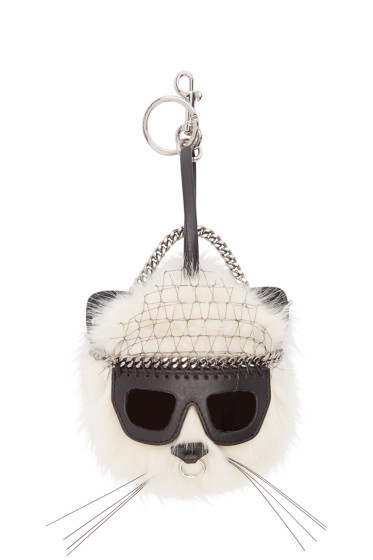 Stella McCartney - Ivory Sunglasses Cat Keychain