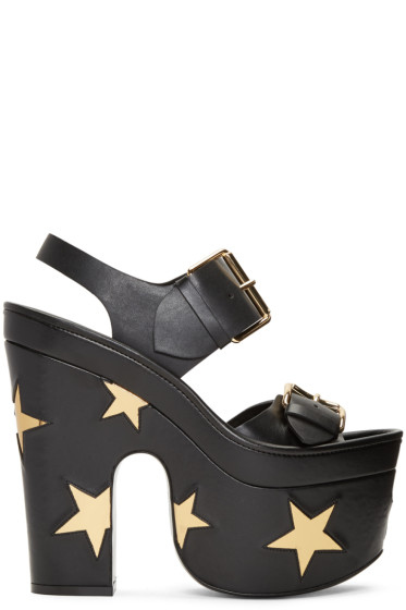 Stella McCartney - Black Platform Buckles Stars Sandals