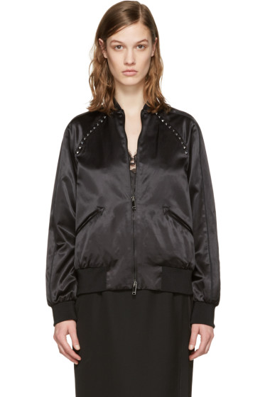 Valentino - Black Satin Rockstud Untitled Bomber Jacket