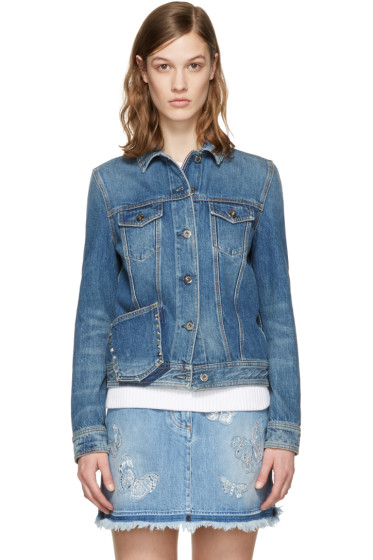 Valentino - Blue Denim Rockstud Untitled Jacket