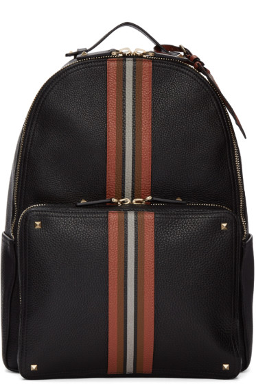 Valentino - Black Rockstud Striped Backpack