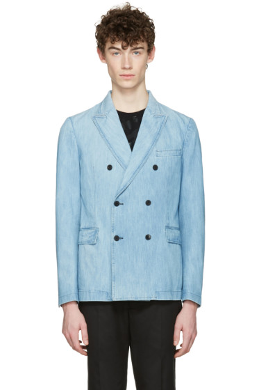 Valentino - Blue Denim Double-Breasted Blazer