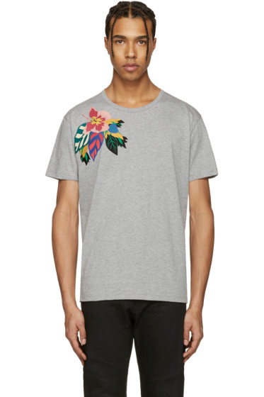 Valentino - Grey Flower & Butterfly T-Shirt