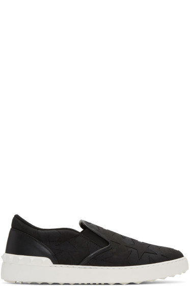 Valentino - Black Rockstud Stars Slip-On Sneakers