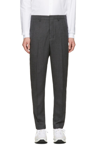AMI Alexandre Mattiussi - Grey Wool Carrote Trousers