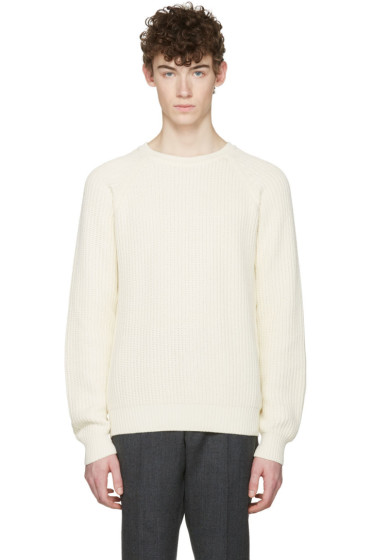 AMI Alexandre Mattiussi - Off-White Ribbed Sweater