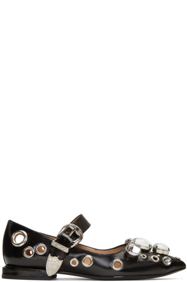 Toga Pulla - Black Single-Buckle Ballerina Flats