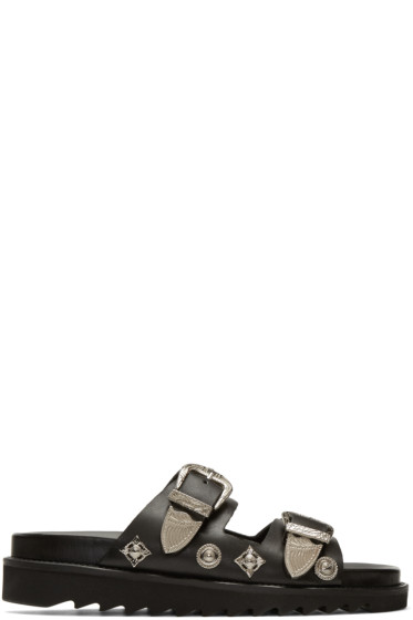 Toga Pulla - Black Charms & Buckle Sandals