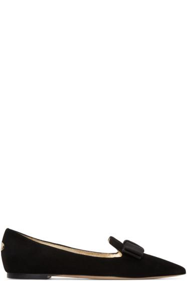 Jimmy Choo - Black Suede Gala Bow Slippers