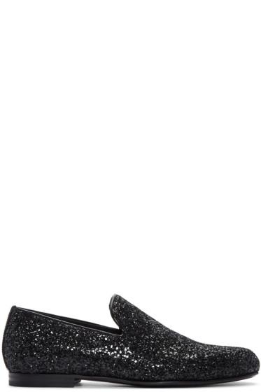 Jimmy Choo -  Black Glitter Sloane Loafers