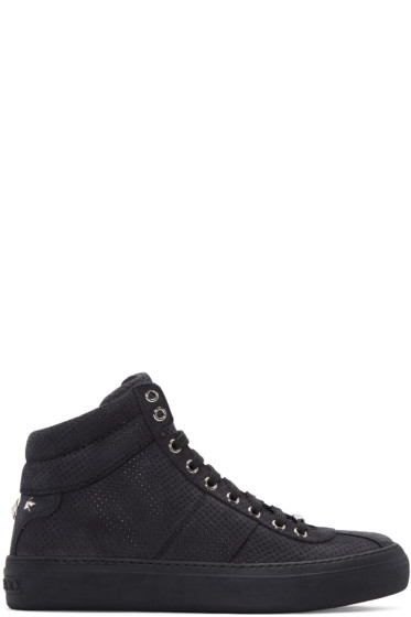 Jimmy Choo -  Black Nubuck Perforated Belgravia High-Top Sneakers