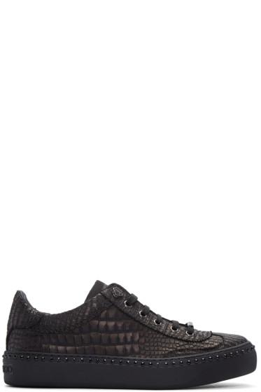 Jimmy Choo - Gunmetal Croc-Embossed Ace Sneakers