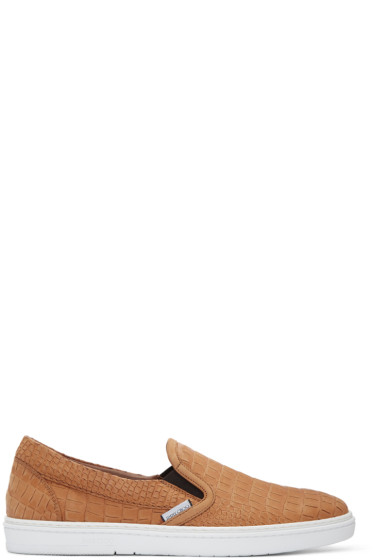 Jimmy Choo - Tan Croc-Embossed Grove Slip-On Sneakers