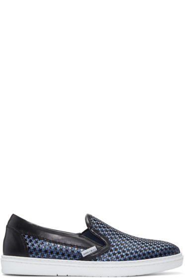 Jimmy Choo - Black Satin Star Grove Slip-On Sneakers