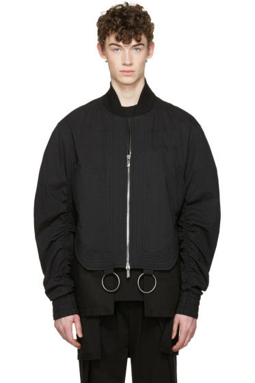 D.Gnak by Kang.D - Black Shirring Sleeves Bomber Jacket