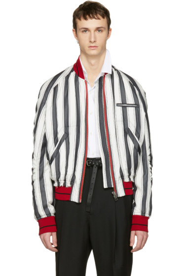 Haider Ackermann - White Striped Silk Bomber