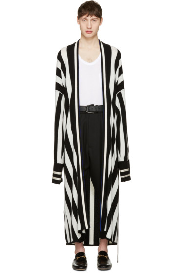 Haider Ackermann - Black Striped Long Cardigan