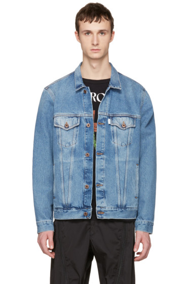 Off-White - Blue Denim Sprayed Diagonals Jacket