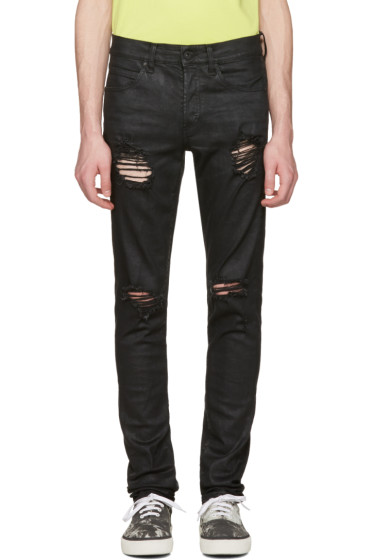 Off-White - Black Slim Rips Diagonal Jeans