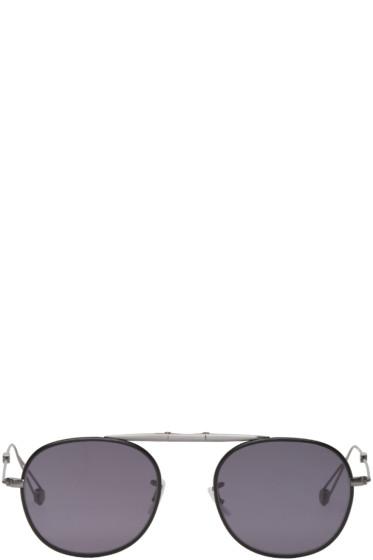 Garrett Leight - Grey & Black Folding Van Buren Sunglasses