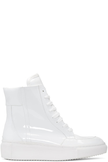 D by D - White Coated High-Top Sneakers