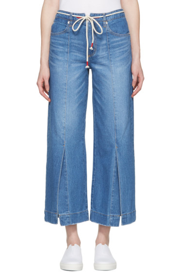 SJYP - Blue Wide Slit Jeans