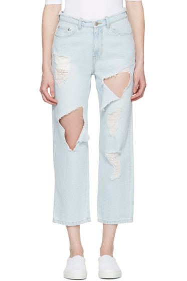 SJYP - Blue Destroyed Cut-Out Jeans