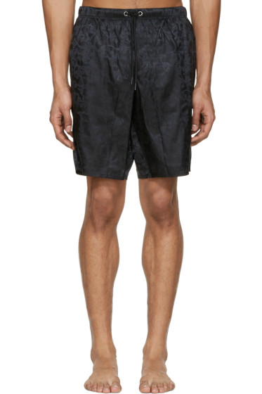 Versace Underwear - Black Jacquard Swim Shorts