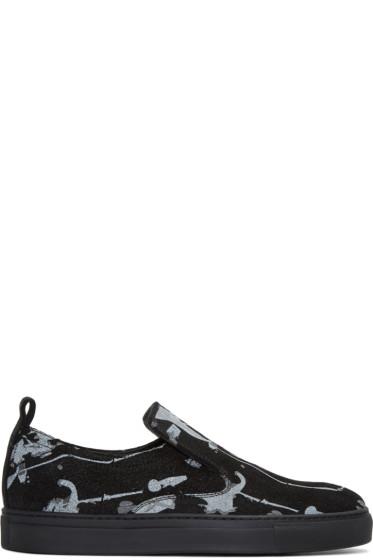 AD Ann Demeulemeester - Black Suede Splatter Slip-On Sneakers