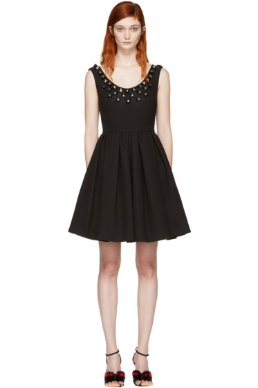 Fendi - Black Studded Pleated Dress