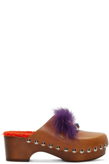 Fendi - Tan 'Fendi Faces' Clog Heels