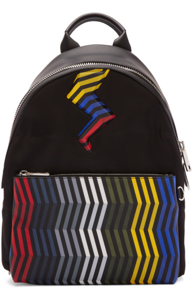 Fendi - Black Zig Zag Bolt Backpack