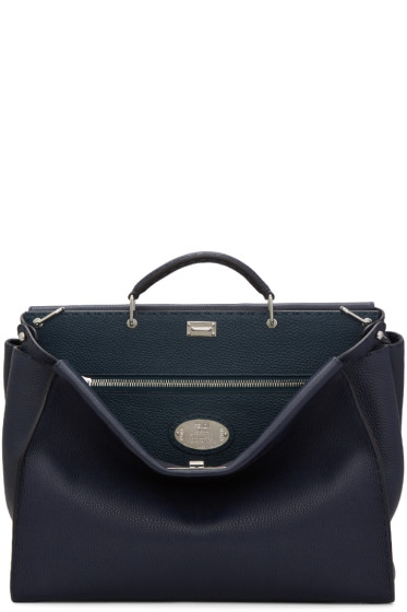 Fendi - Navy Medium Peekaboo Tote