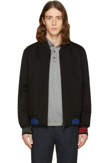 Fendi - Black Zig Zag Bomber Jacket