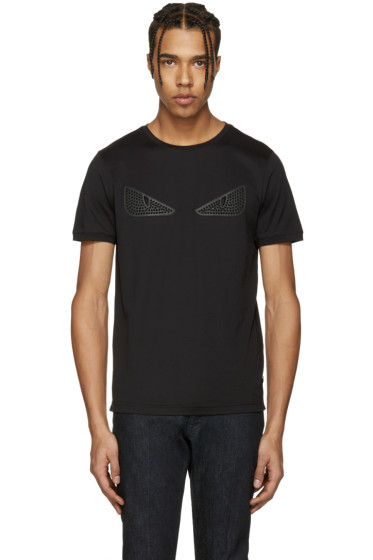 Fendi -  Black Studded 'Bag Bug' T-Shirt