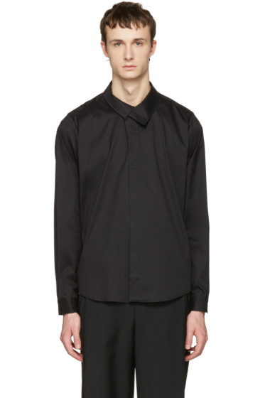 Wooyoungmi - Black Flap Collar Shirt