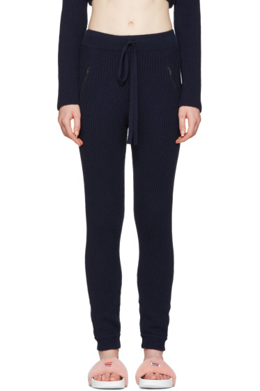 Baja East - Navy Cashmere Ribbed Lounge Pants
