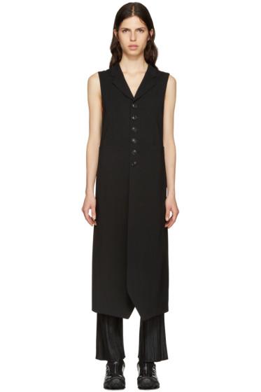 Y's - Black Long Wool Vest