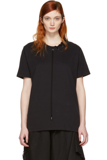 Craig Green - Black Lace-Up Collar T-Shirt