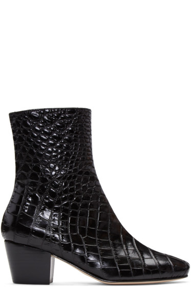 Dorateymur - Black Croc-Embossed Droop Nose Boots